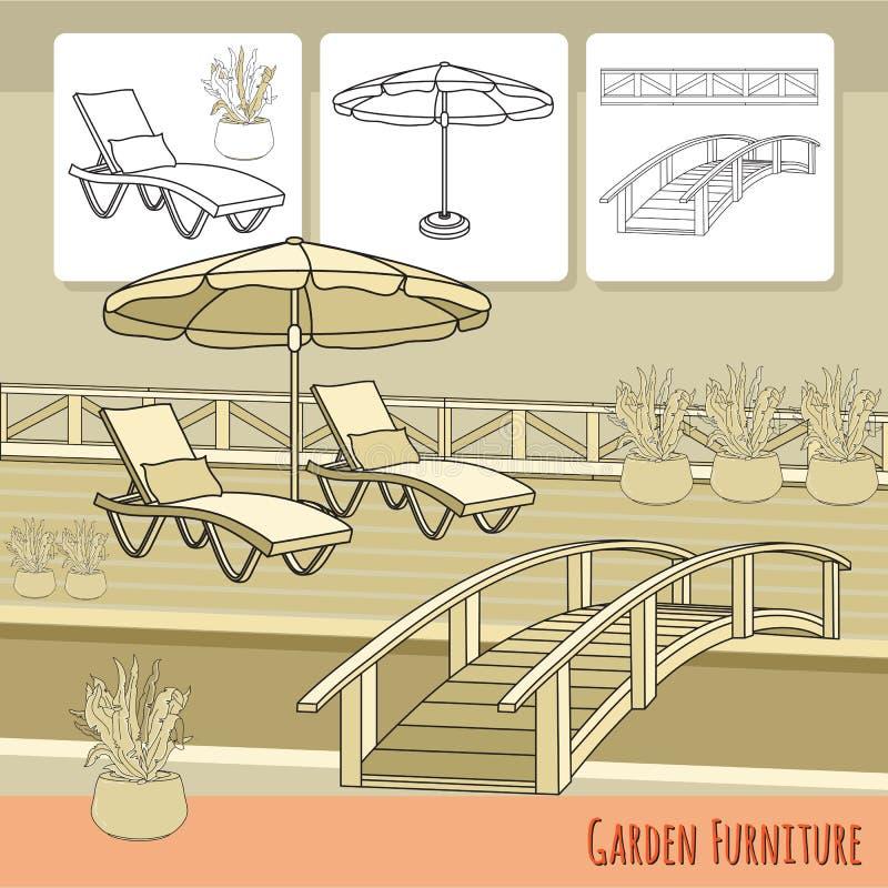Download Klubsessel, Regenschirm Und Blumen Im Topf Gartenzusatz Vektor Abbildung - Illustration von daybed, blatt: 90230854