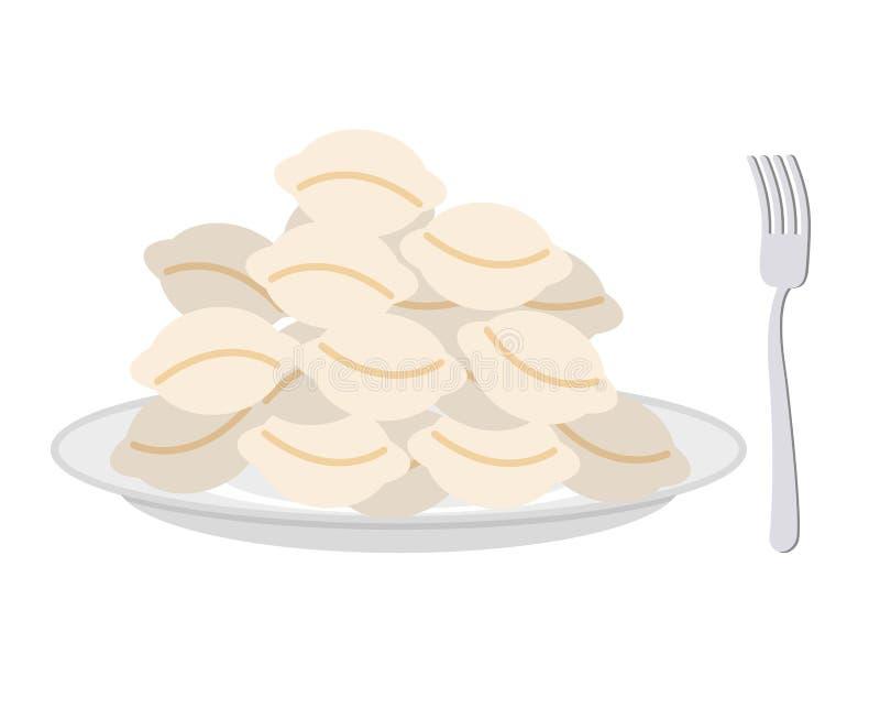 Kluchy w rozwidleniu na białym tle i talerzu Wektorowy illu ilustracja wektor