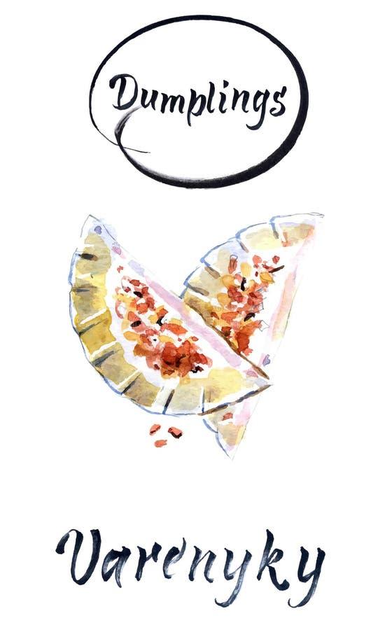 Kluchy wypełniać z wołowiny mięsem i słuzyć z smażącą cebulą, Varenyky, vareniki, pieróg, pyrohy Kluchy z plombowaniem ilustracji