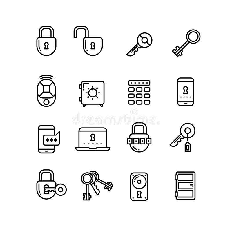 Klucz, kędziorek, kłódka, skrytka, drzwi, ochron cienkie kreskowe wektorowe ikony ilustracja wektor