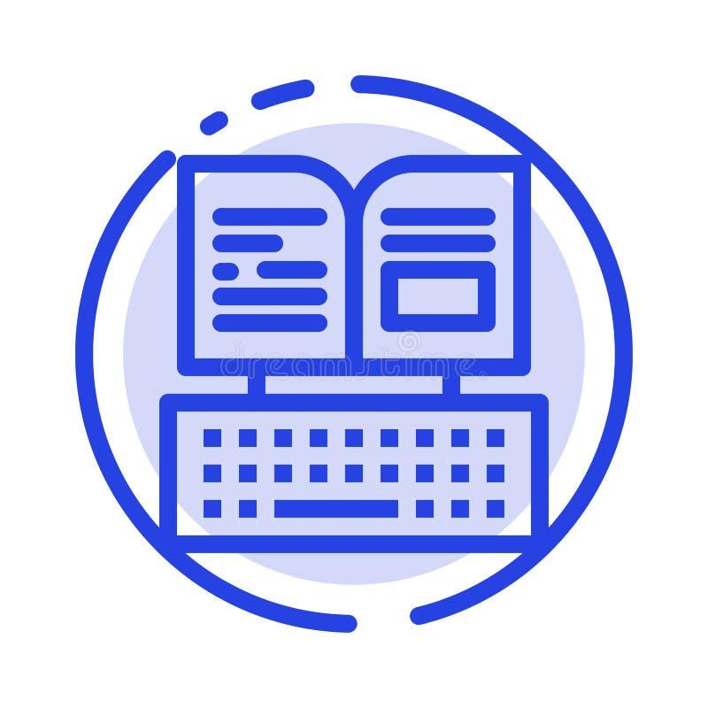 Klucz, klawiatura, książka, Facebook linii linii błękit Kropkująca ikona ilustracja wektor