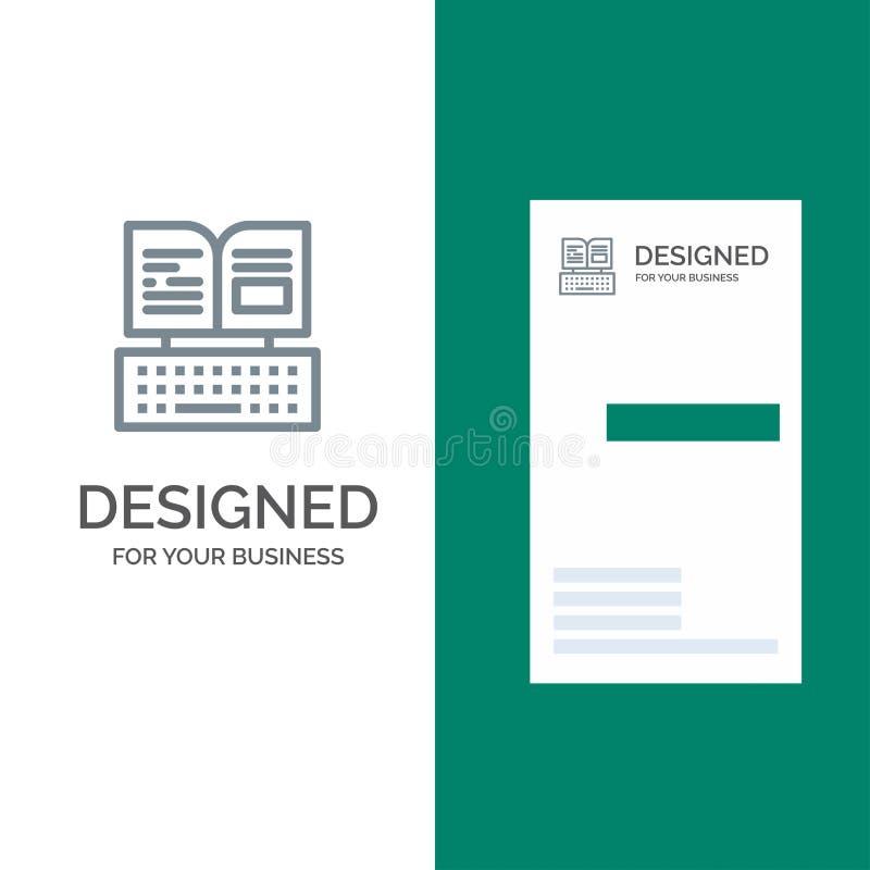 Klucz, klawiatura, książka, Facebook logo Popielaty projekt i wizytówka szablon, royalty ilustracja
