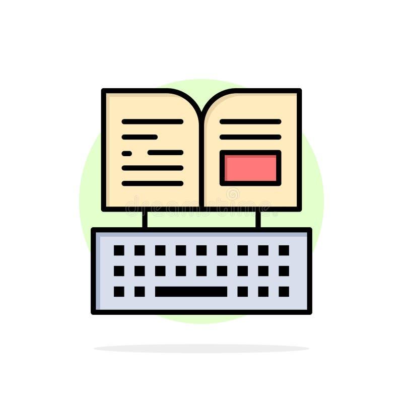 Klucz, klawiatura, książka, Facebook okręgu Abstrakcjonistycznego tła koloru Płaska ikona royalty ilustracja