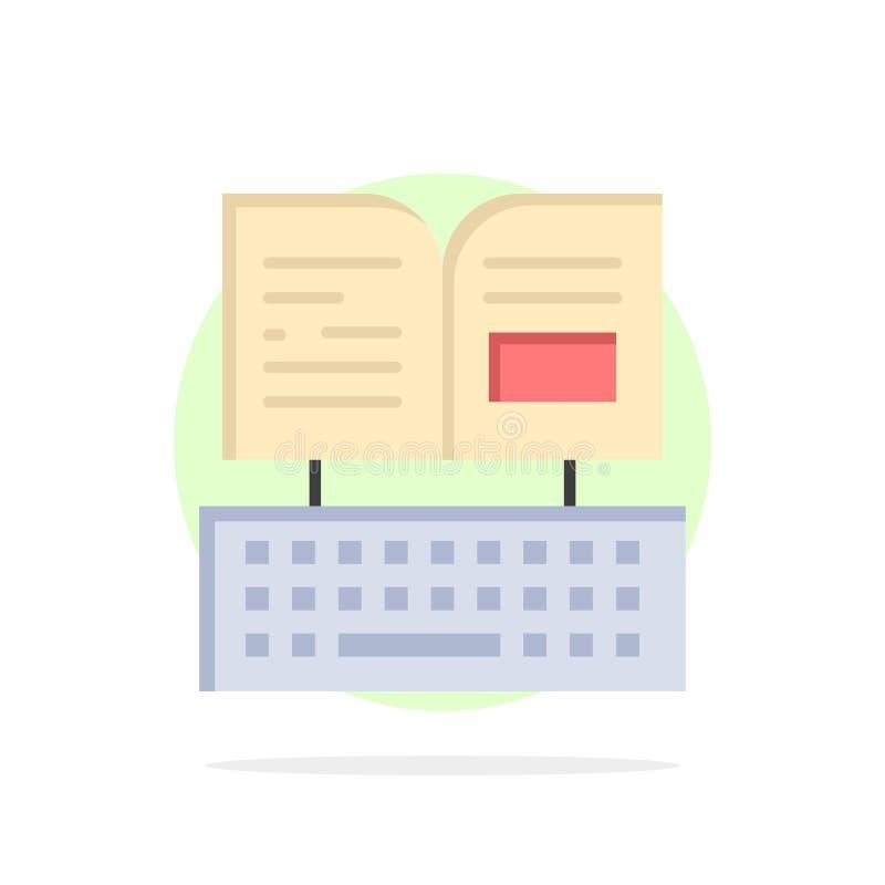 Klucz, klawiatura, książka, Facebook okręgu Abstrakcjonistycznego tła koloru Płaska ikona ilustracja wektor