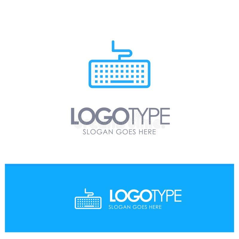 Klucz, klawiatura, narzędzia, edukacja Błękitnego logo Kreskowy styl royalty ilustracja