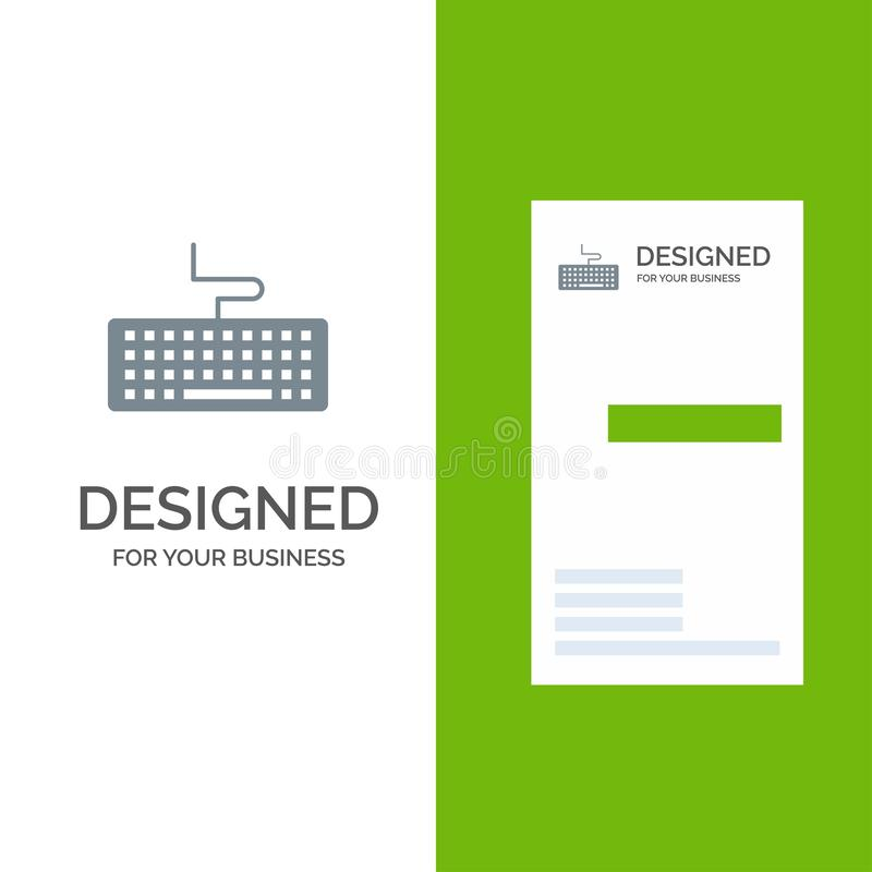 Klucz, klawiatura, narzędzia, edukacja logo Popielaty projekt i wizytówka szablon, ilustracji
