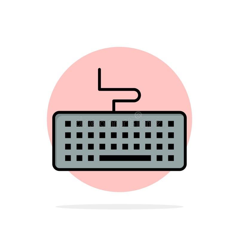 Klucz, klawiatura, narzędzia, edukacja okręgu Abstrakcjonistycznego tła koloru Płaska ikona ilustracji
