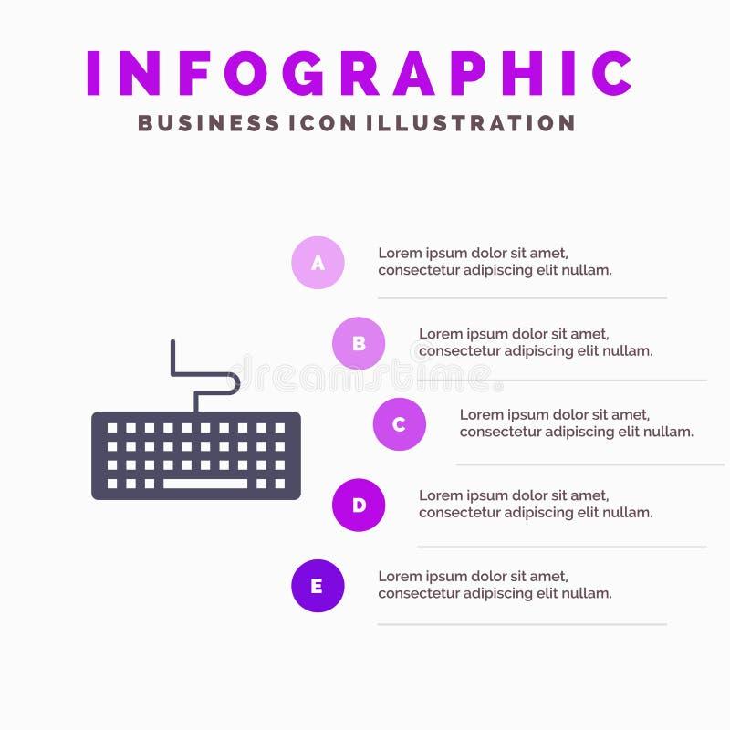 Klucz, klawiatura, narzędzia, edukacji Infographics prezentacji szablon 5 kroków prezentacja royalty ilustracja