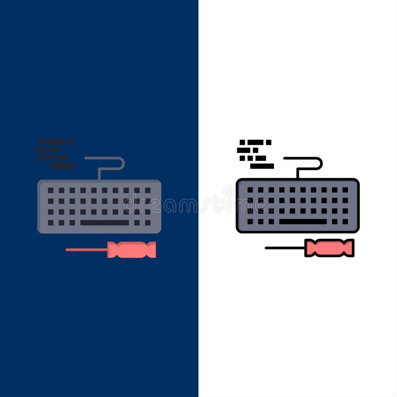 Klucz, klawiatura, narzędzia, Remontowe ikony Mieszkanie i linia Wypełniający ikony Ustalony Wektorowy Błękitny tło ilustracja wektor