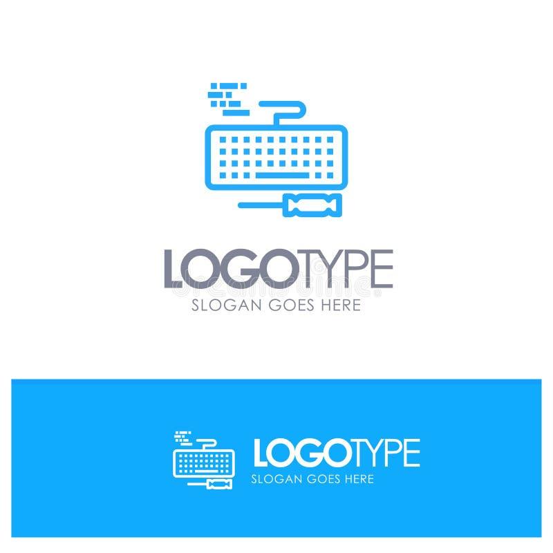 Klucz, klawiatura, narzędzia, Remontowy Błękitny konturu logo miejsce dla Tagline royalty ilustracja