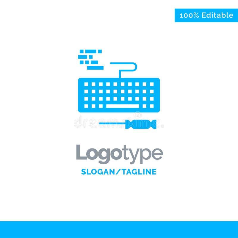 Klucz, klawiatura, narzędzia, Remontowy Błękitny Stały logo szablon Miejsce dla Tagline royalty ilustracja