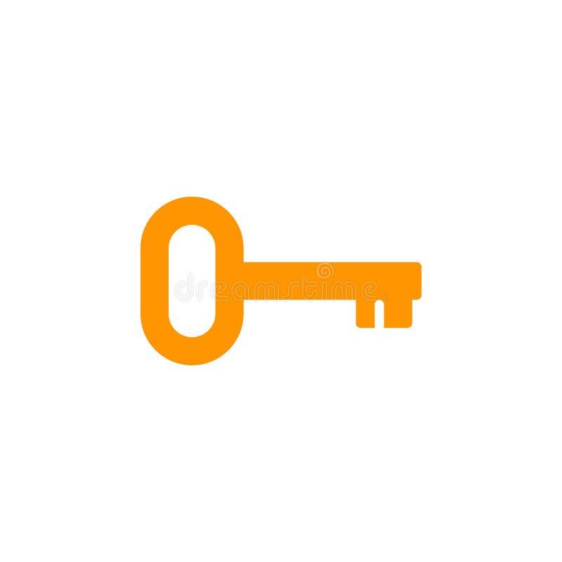 Klucz, nazwy użytkownika ikony wektor, wypełniający mieszkanie znak, stały kolorowy piktogram odizolowywający na bielu ilustracja wektor