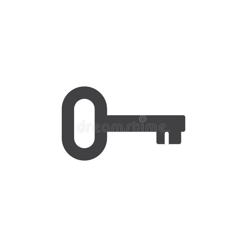 Klucz, nazwy użytkownika ikony wektor, wypełniający mieszkanie znak, stały piktogram odizolowywający na bielu royalty ilustracja
