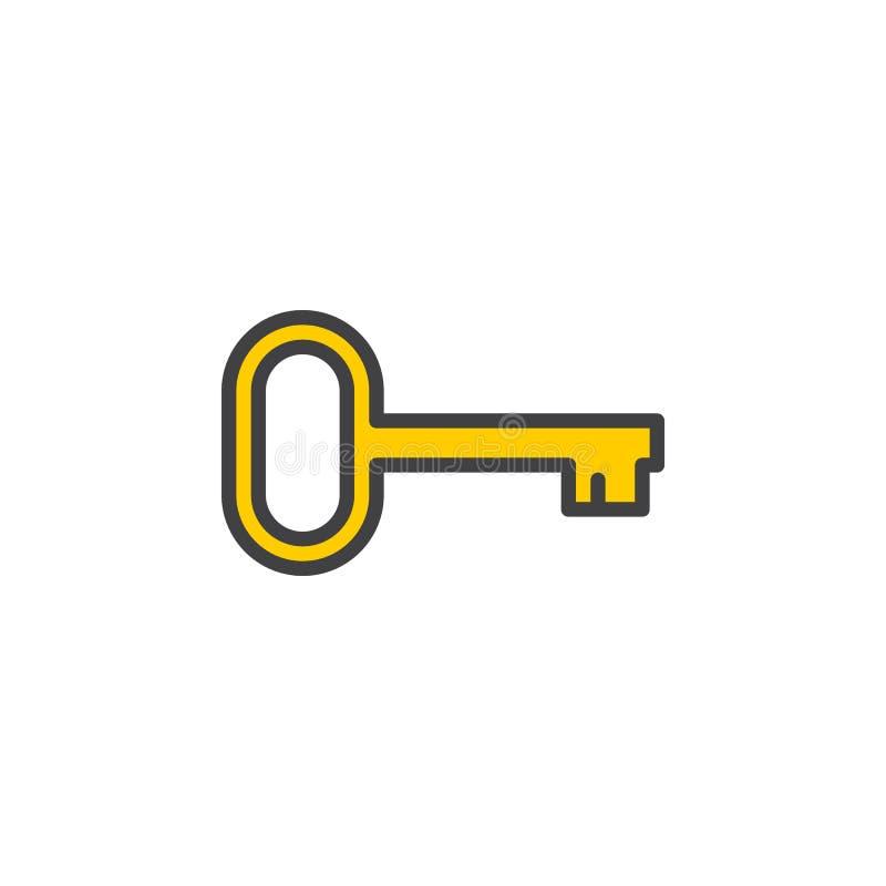 Klucz, nazwy użytkownika kreskowa ikona, wypełniający konturu wektoru znak, liniowy kolorowy piktogram odizolowywający na bielu royalty ilustracja