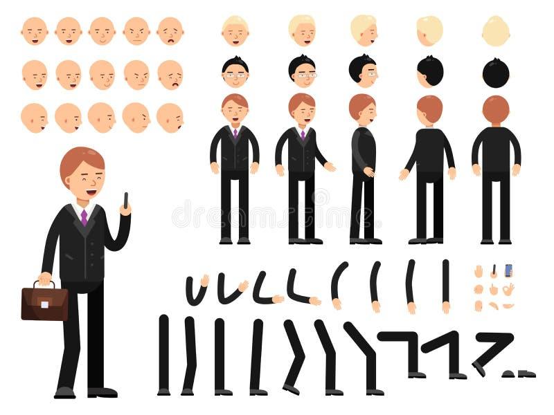 Klucz ramy biznesowi charaktery Tworzenie maskotki zestaw Wektorowy konstruktor royalty ilustracja