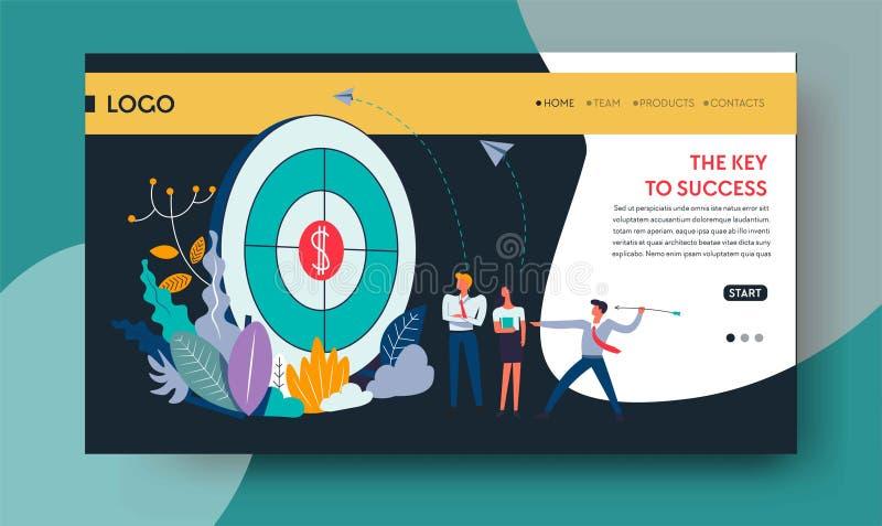 Klucz sukcesu osiągnięcia strony internetowej bramkowy szablon royalty ilustracja