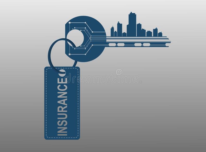 Klucz symbolizuje alarmowego systemu domów biur mieszkania ilustracji