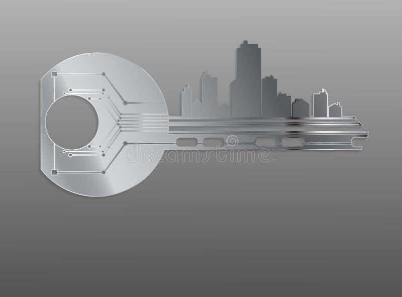 Klucz symbolizuje alarmowego systemu domów biur mieszkania Ve royalty ilustracja