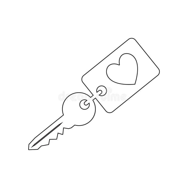 klucz z kierow? urok ikon? Element valentine, s dzie? ?, po?lubiaj?cy dla mobilnego poj?cia i sieci apps ikony Kontur, cienieje k royalty ilustracja