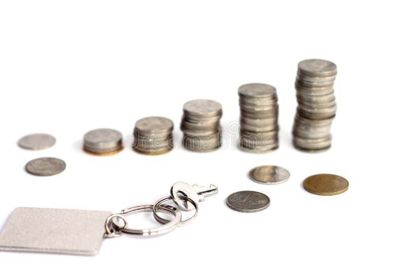 Klucz z prostokąta kluczowym łańcuchem z plamy monety stertami fotografia royalty free