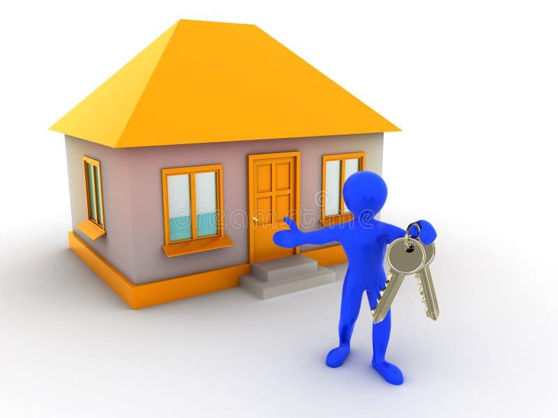 Download Klucza domowy mężczyzna ilustracji. Ilustracja złożonej z klucz - 13341909