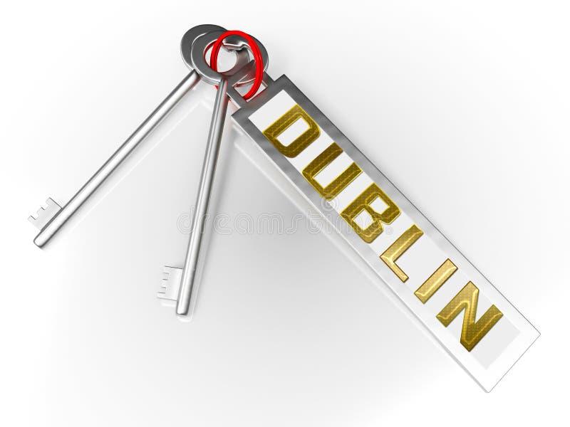 Klucze mieszkań w Dublinie przedstawiają irlandzkie zakupy nieruchomości Condo — ilustracja 3d ilustracja wektor