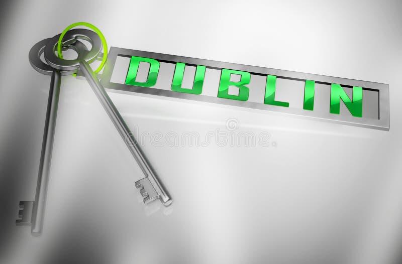 Klucze mieszkań w Dublinie przedstawiają irlandzkie zakupy nieruchomości Condo — ilustracja 3d ilustracji