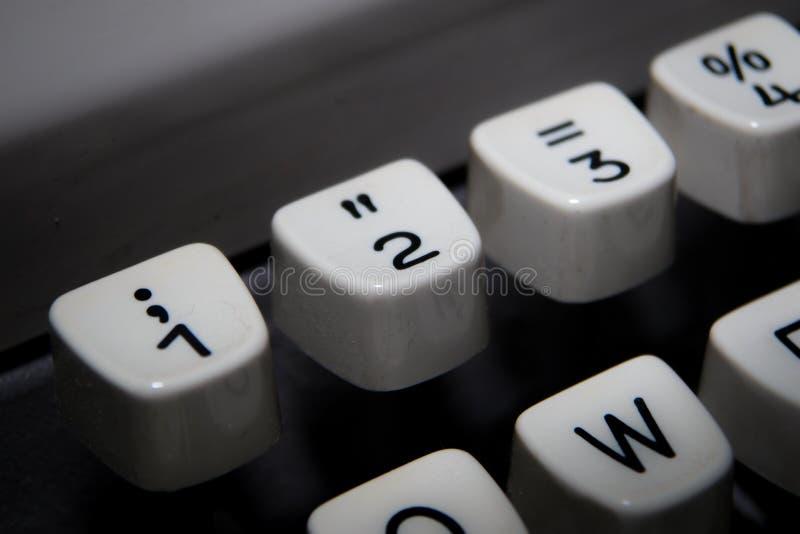 Klucze 1,2, 3 na starym maszyna do pisania i fotografia royalty free
