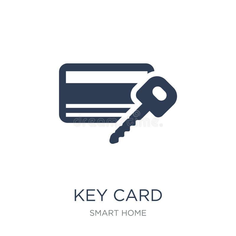 Kluczowej karty ikona Modna płaska wektorowa Kluczowej karty ikona na białym backgro ilustracji
