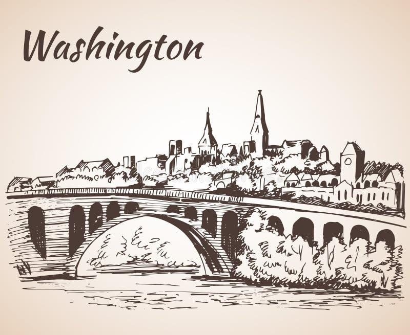Kluczowy Bridżowy Potomac Rzeczny washington dc od Roosevelt wyspy ilustracji