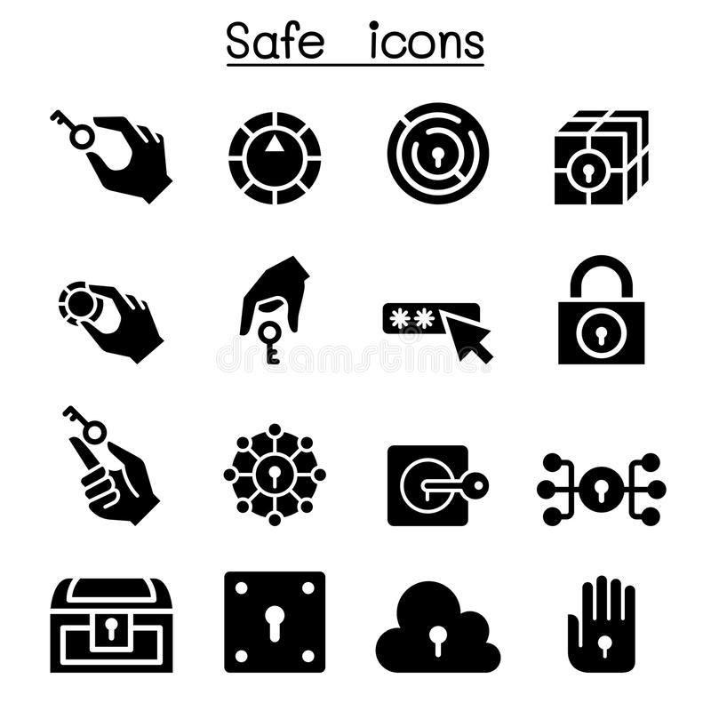 Kluczowy i kędziorek systemu ikony set ilustracji