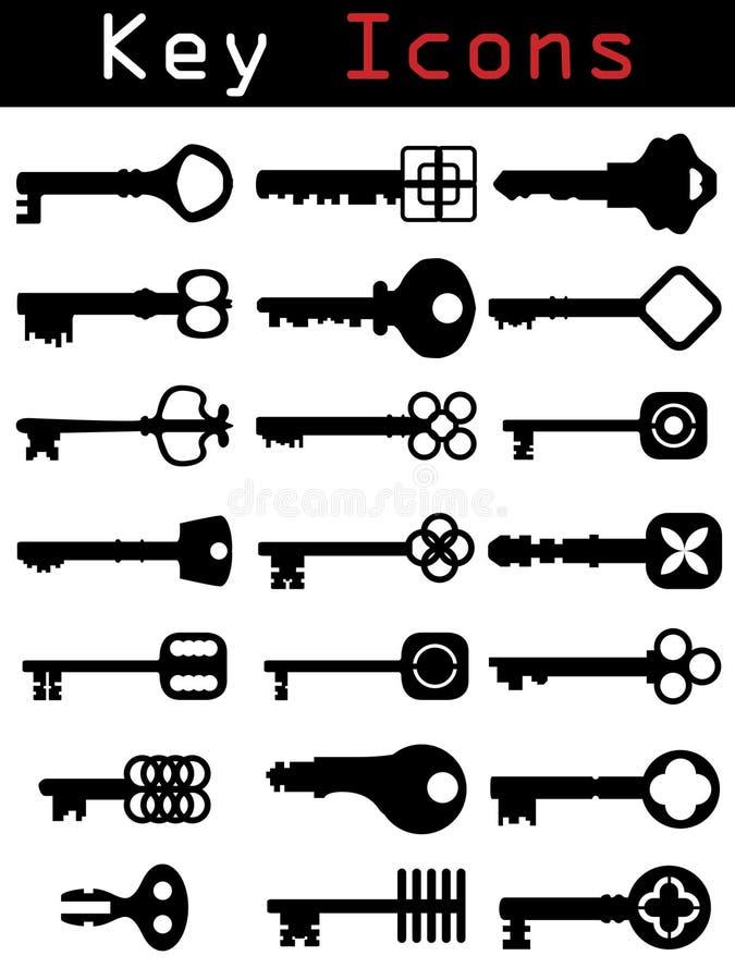 kluczowy ikona set royalty ilustracja