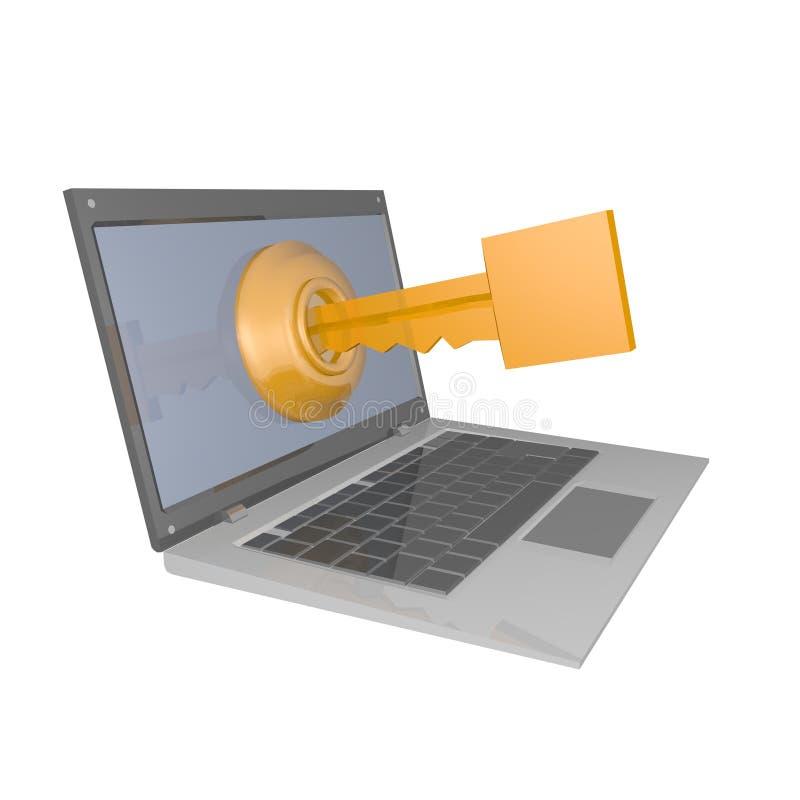 Kluczowy komputer ilustracja wektor