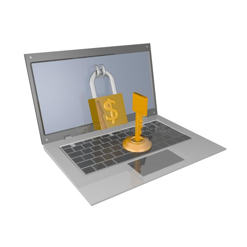 Kluczowy komputer ilustracji