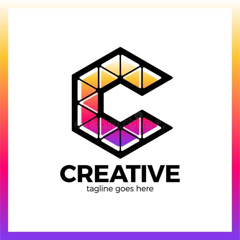 Klug, kreativ, Dreieck, bunt, Buchstabe C Smart und Idee L stock abbildung