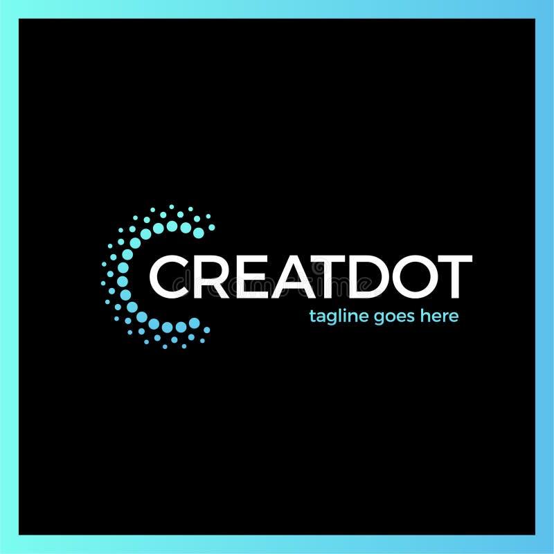 Klug und kreativ, Punkte oder Punktbuchstabe C Smart und Ideenfirmenzeichen stock abbildung