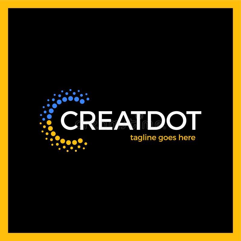 Klug und kreativ, Punkte oder Punktbuchstabe C Smart und Ideenfirmenzeichen lizenzfreie abbildung
