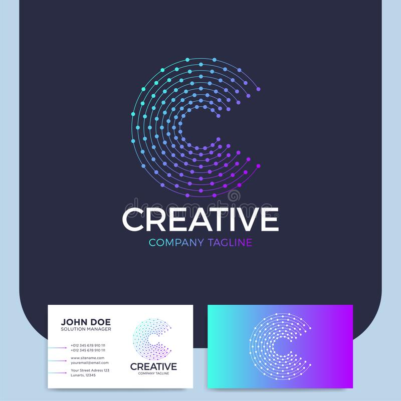 Kluge und kreative Punkte oder Logo des Punktbuchstaben c intelligent und Idee L stock abbildung