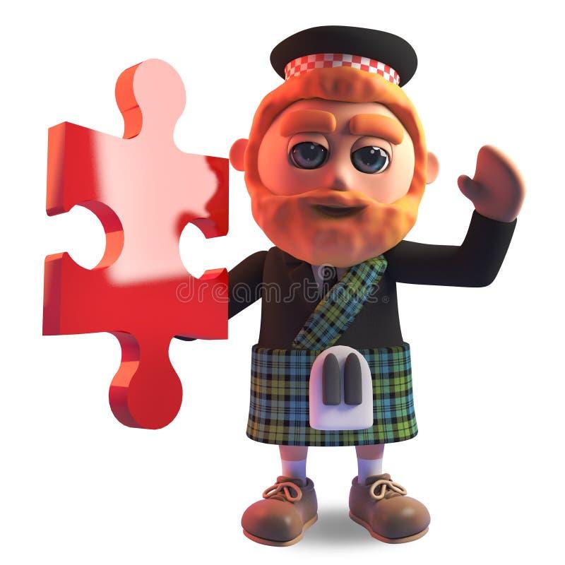 Kluger schottischer Mann 3d mit rotem Bart und Kilt, der ein Stück des Puzzlen, Illustration 3d hält stock abbildung