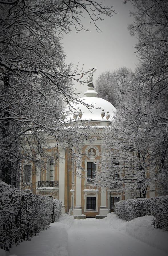 Kluis in de winter Kuskovo stock afbeelding