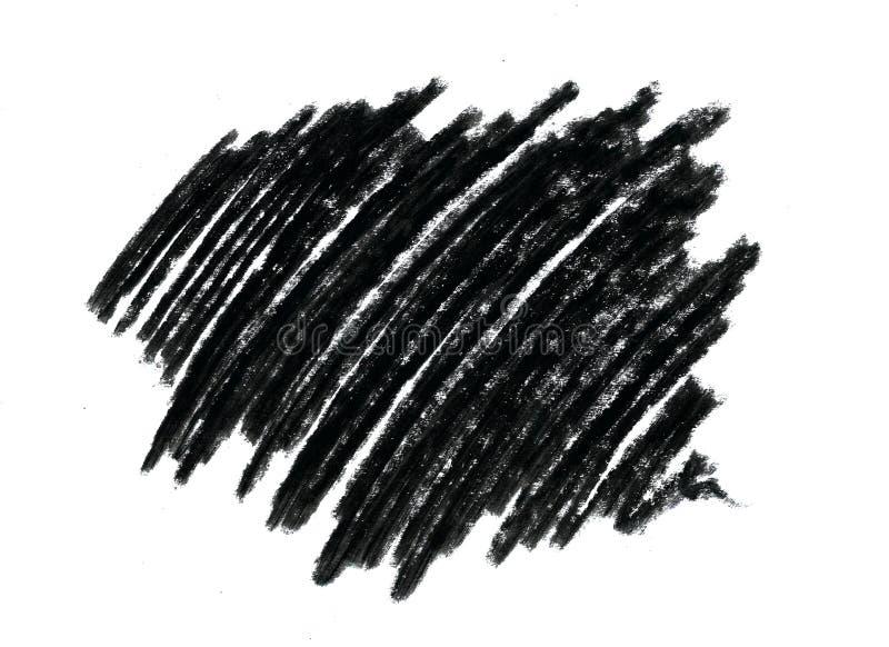 Klujący się bazgraninę z dziecka ` s nawoskuje czarnego ołówek na białym tle ilustracji