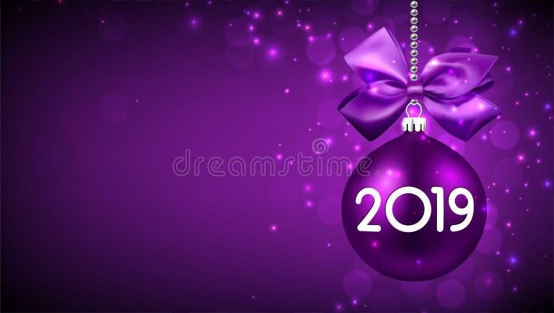 Klumpa ihop sig bakgrund för det nya året för lilor 2019 med jul stock illustrationer
