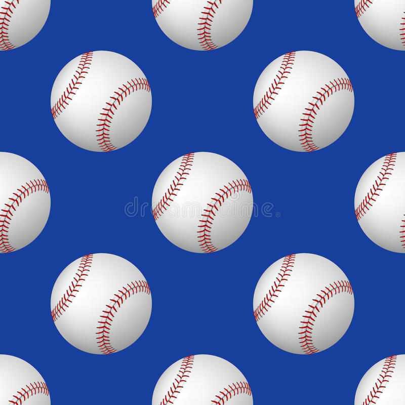 Klumpa ihop sig den sömlösa modellen för vektorn av baseball på blå bakgrund royaltyfri illustrationer
