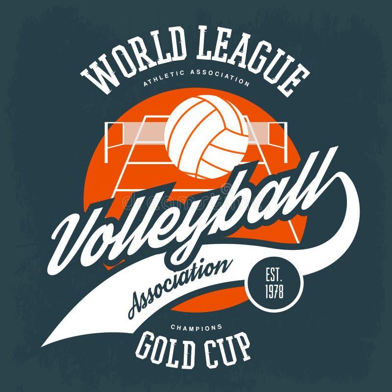 Klumpa ihop sig för volleyboll framme av fältet med netto royaltyfri illustrationer