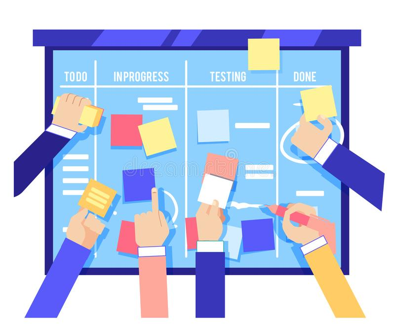 Klungabrädebegreppet med människahänder som klibbar färgrik legitimationshandlingar och handstiluppgifter på blått, stiger ombord stock illustrationer