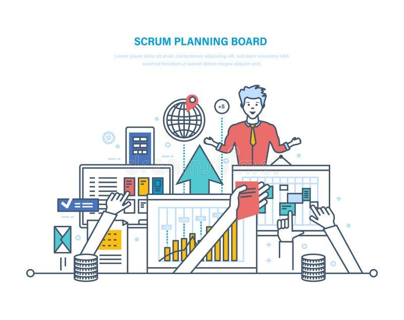 Klungaplanläggningsbräde med uppgifter Konferens för kollega, funktionsduglig planläggning stock illustrationer