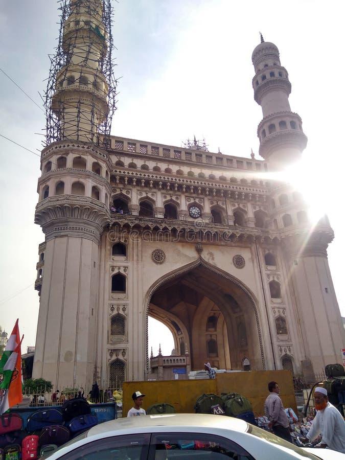 Klusjes minar hydrabad royalty-vrije stock foto's