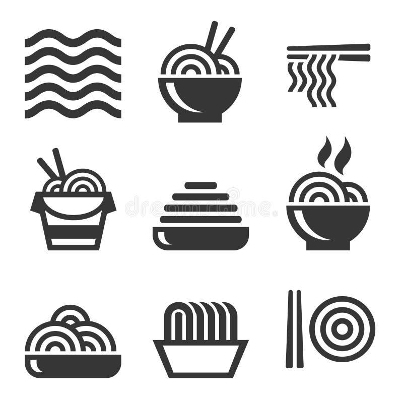 Kluski ikony Azjatyccy jedzenie baru logowie Ustawiający wektor royalty ilustracja