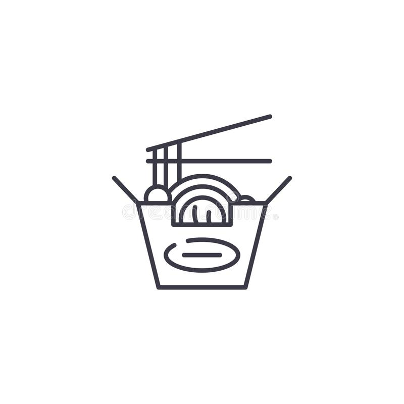 Kluski ikony liniowy pojęcie Kluski wykładają wektoru znaka, symbol, ilustracja royalty ilustracja