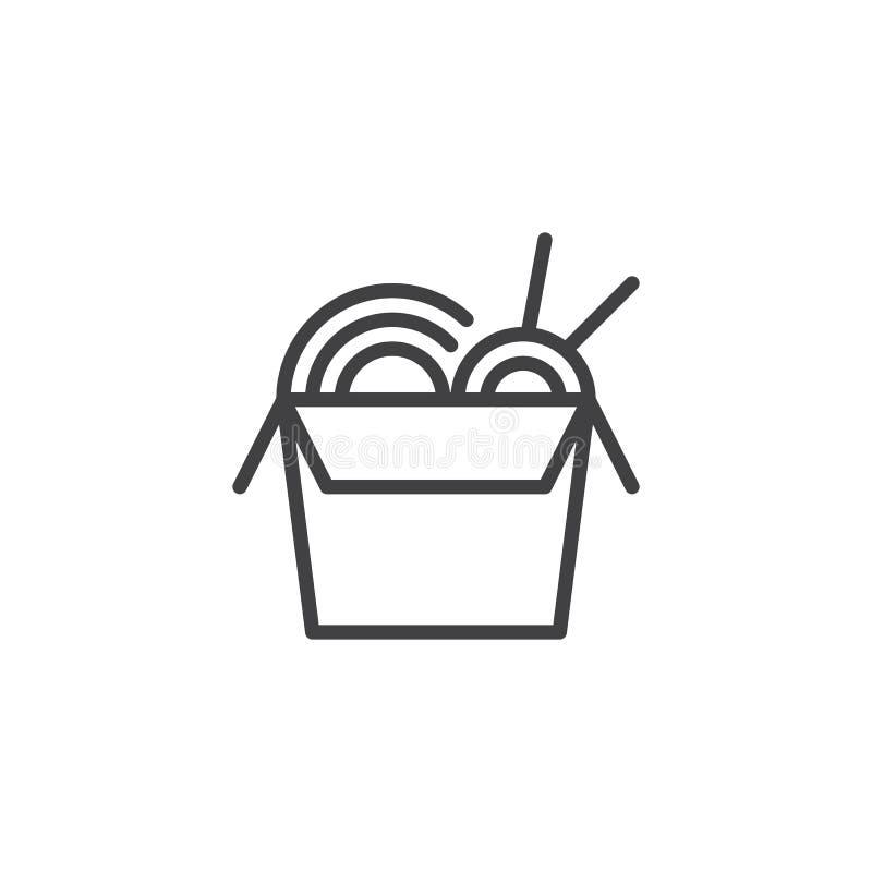 Kluski pudełko z Chopsticks konturu ikoną ilustracja wektor